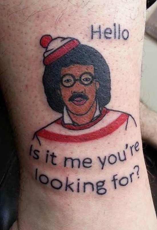 Lionel Ritchie Where's Waldo, Hello? Is it me you're looking for? ~ The worst bad tattoos fails