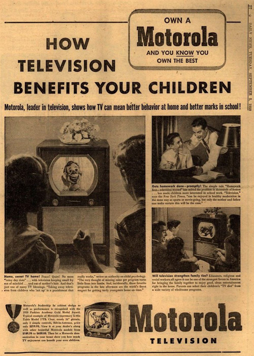 Vintage Motorola ad from 1950. Television Benefits Your Children