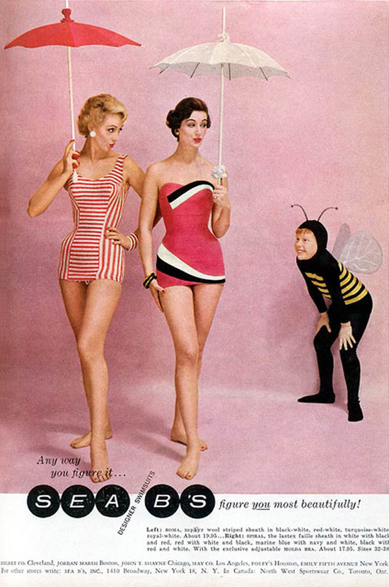 Creepy Vintage: Sea B's Designer Swimwear. Boy dressed a bee staring at the asses of two models in swim suits