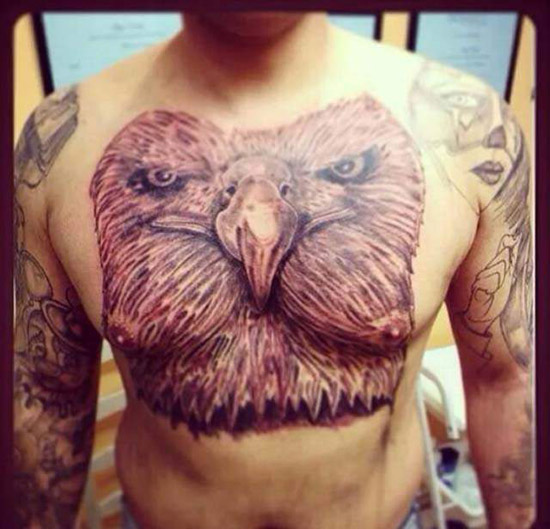 Hige eagle on chest with nipple cheeks