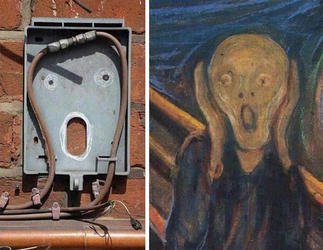 The scream painting look alike electrical outlet