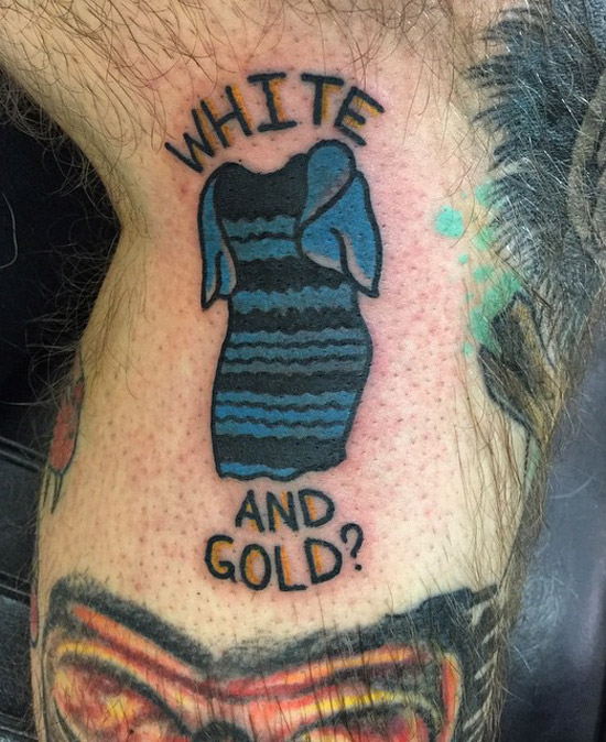Tattoo of the do you see white and gold of black and blue dress illusion