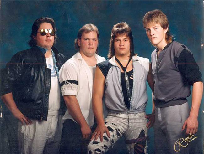 Awkward 1980s rock band portrait hair clothes teens funny