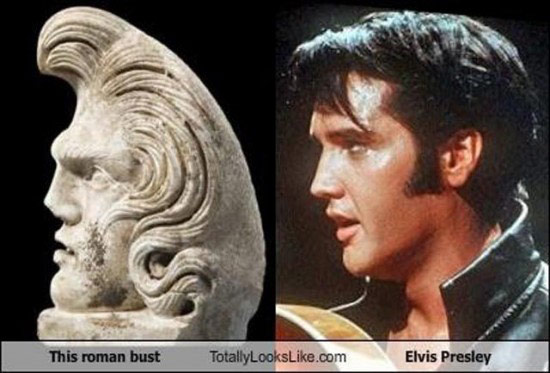 Celebrities that look like Historical Figures ~ Elvis Roman Statue Bust