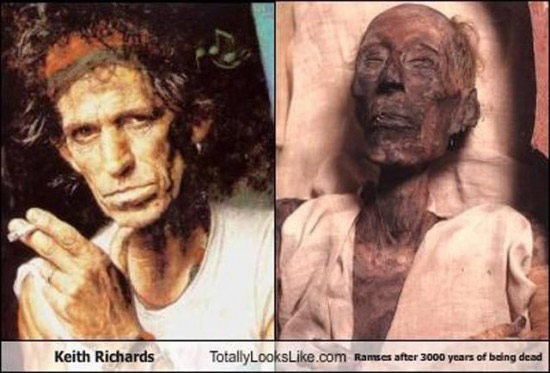 Celebrities that look like Historical Figures ~ Keith Richard Ramses