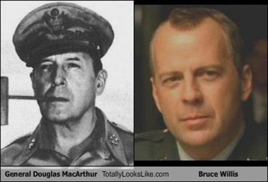 Celebrities that look like Historical Figures ~ Bruce Willis General Douglas MacArthur