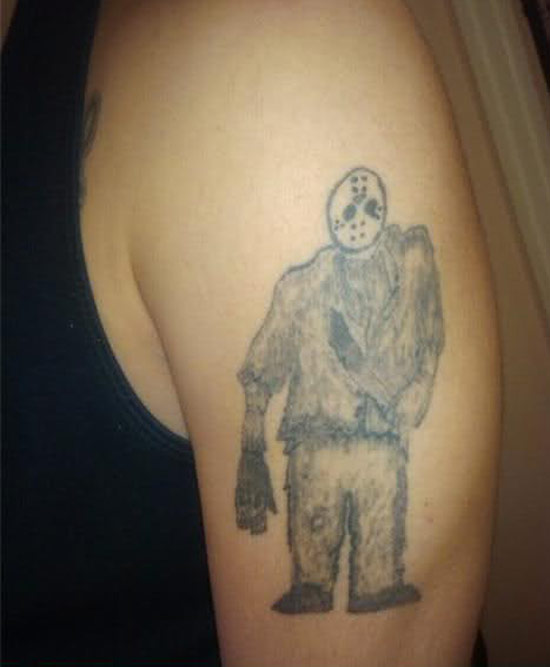 Jason fro Friday the 13th movie ~ The ugliest worst bad tattoos
