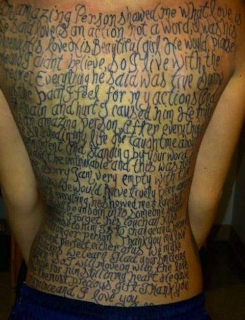 love is beautiful crazy story tattooed on back ~ The ugliest worst bad tattoos