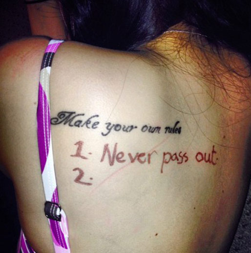 make your own rules on back number 1: don't pass out