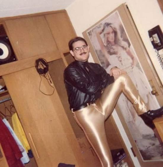 vintage color snap 1970s, guy in dorm room, gold lame pants, farrah fawcett poster ~ Awkwardly Funny Family Photos