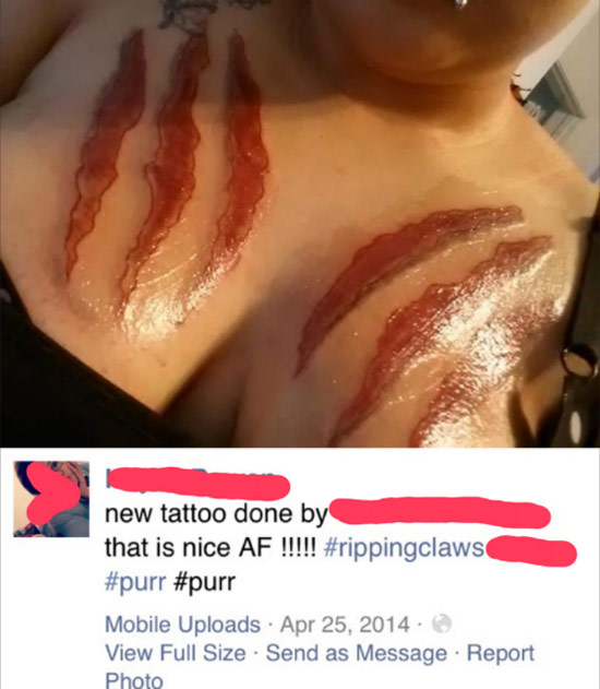 Ripping flesh claws tattoo looks like bacon
