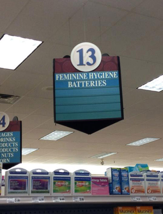 feminine hygiene batters store sign funny signs