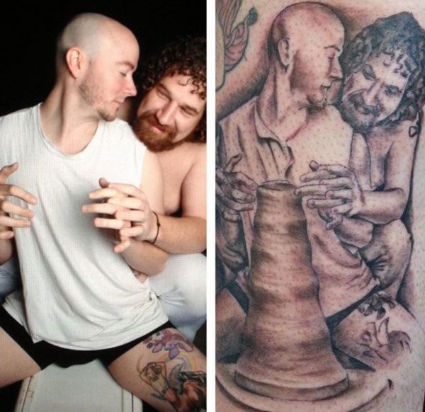 Ghost Patrick Swayze Demi Moore parody ~The Ugliest Worst Bad Tattoos pottery