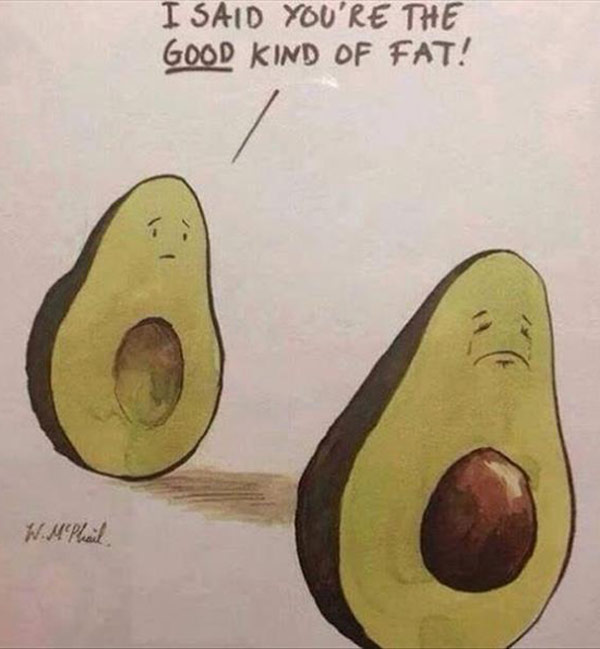 Funny avocado meme: I meant you're the good kind of fat