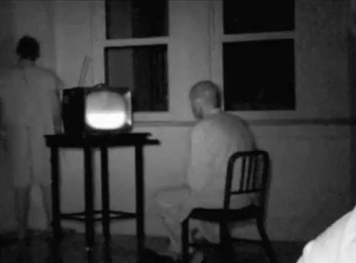 Scary Weird Creepy Old Photos ~ watching tv in asylum