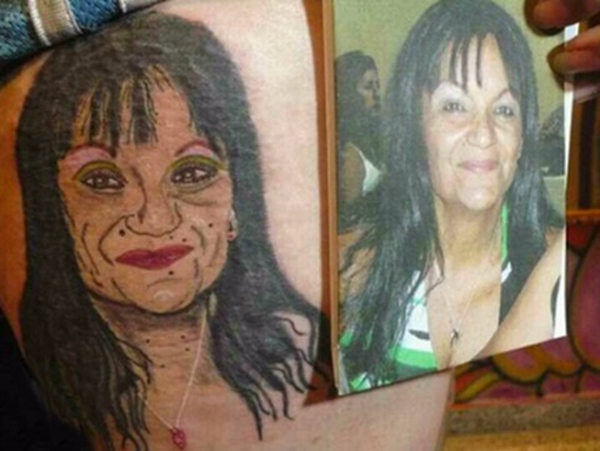 Portrait woman ~ Worst Bad Tattoos