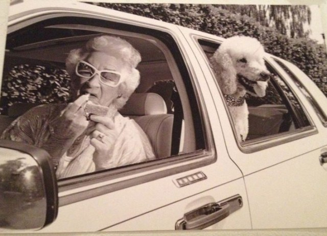 Vintage snap of grandma & poodle, putting on lipstick in side view mirror of cadillac ~Awkwardly Funny Family Photos