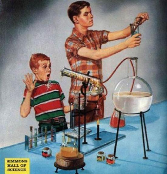 Funny, you wouldn't expect to find a penis there ~ vintage science lab illustration