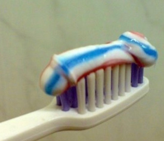 Funny, you wouldn't expect to find a penis there ~ toothpaste