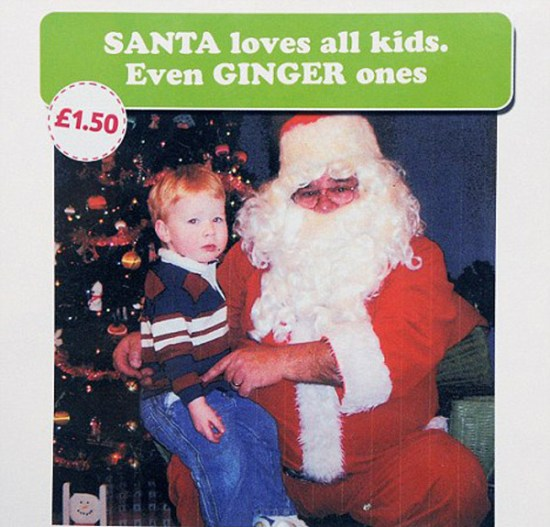 26 Funny Awkward Christmas Photos ~ Santa loves all kids, even Ginger ones
