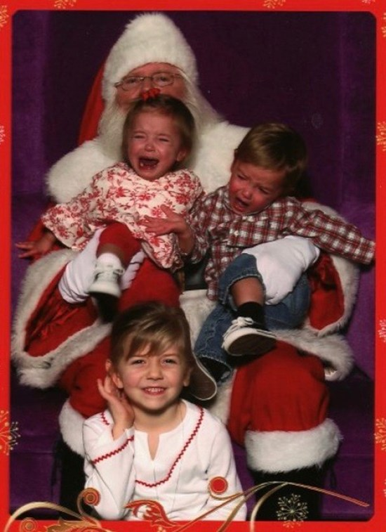 Funny Awkward Christmas Photos ~ Sitting on Santas lap, glamor shot