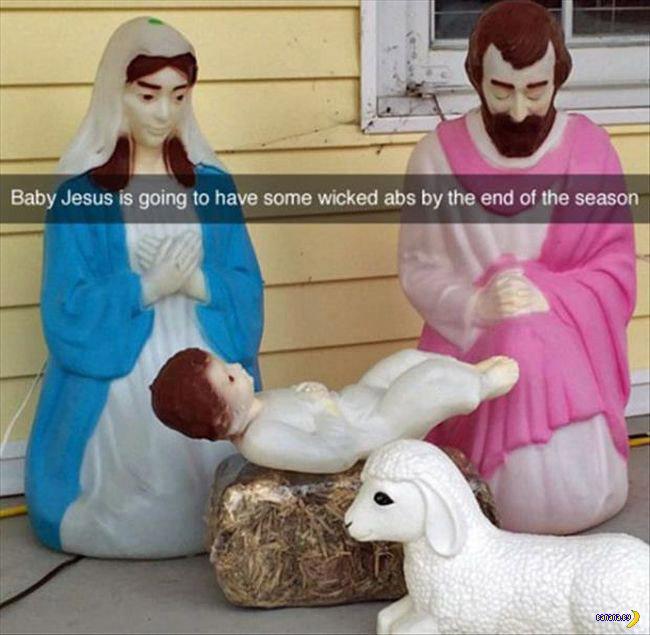 Funny Christmas snapchat, nativity scene, jesus doing sit ups, wicked abs