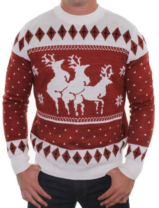 Funny ugly Christmas sweaters, reindeer humping