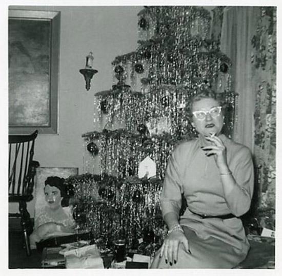 Funny Awkward Family Christmas Pics ~ Vintage 1960s, random smoking in front of Christmas tree