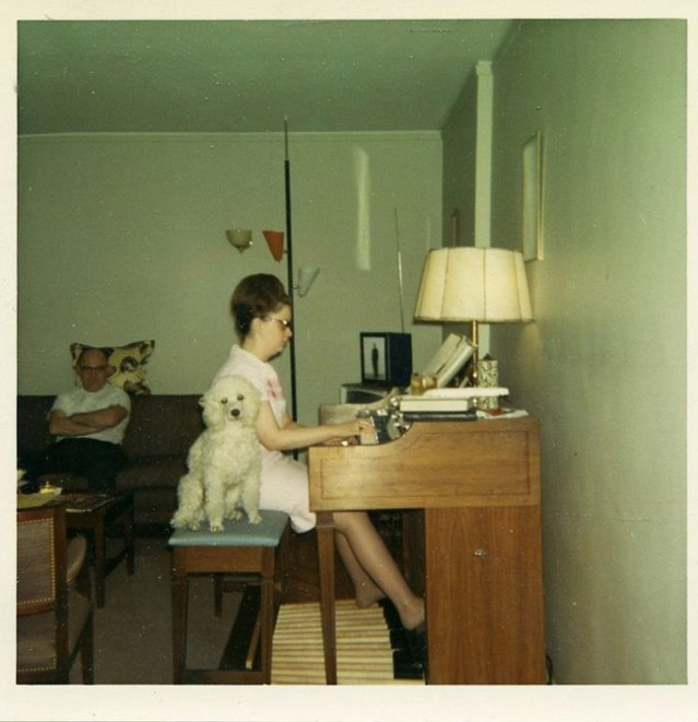 Funny Awkward Family Photos: vintage color snap woman playing piano with poodle