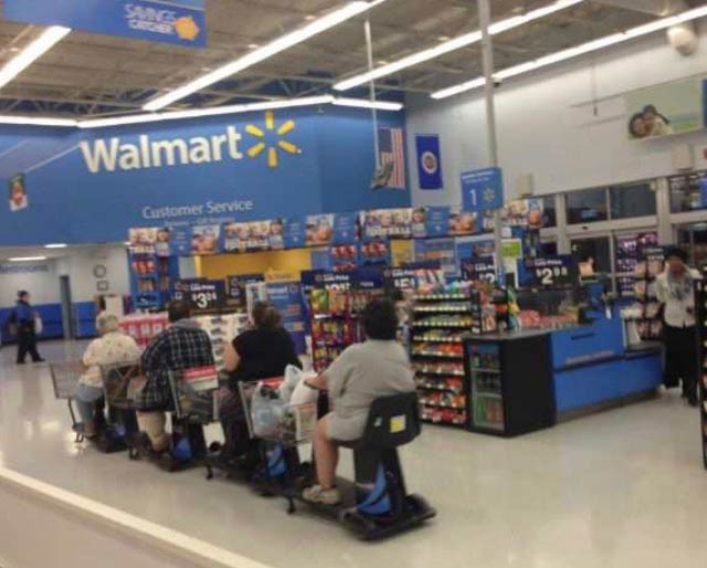 Funny Awkward Family Photos: people on Rascals in Walmart