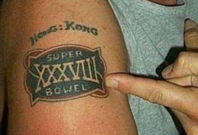 Worst Bad Tattoos: misspelled super bowl, spelled super bowel