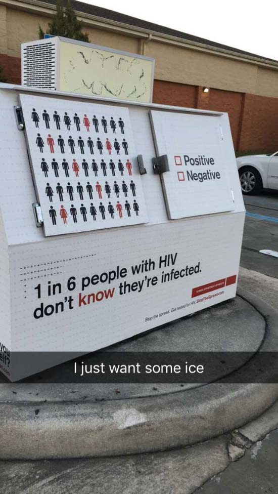Funny Snapchats~ Aids message on ice machine, I just want ice