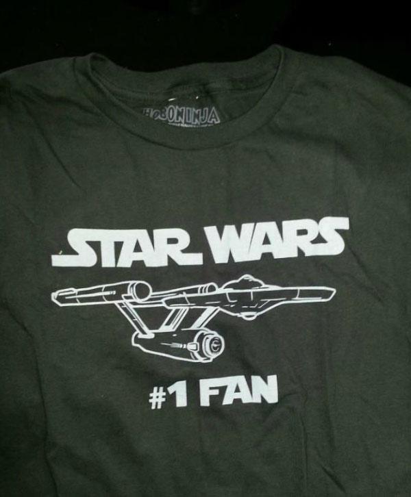 Star Wars #1 Fan T-shirt with Star Trek Enterprise ~ Funny You Had One Job Fails