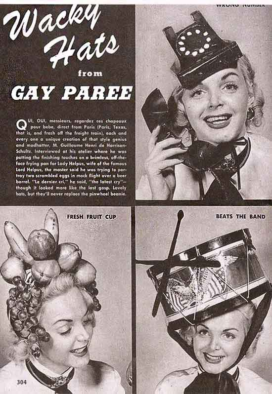 vintage ad, wacky hats from gay pared