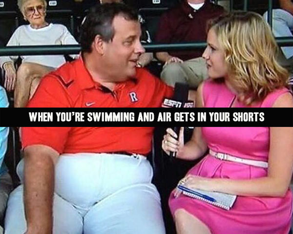 Fat guy: when air fills your shorts while swimming