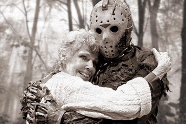 Vintage movie still, Friday the 13th, mom hugging Jason