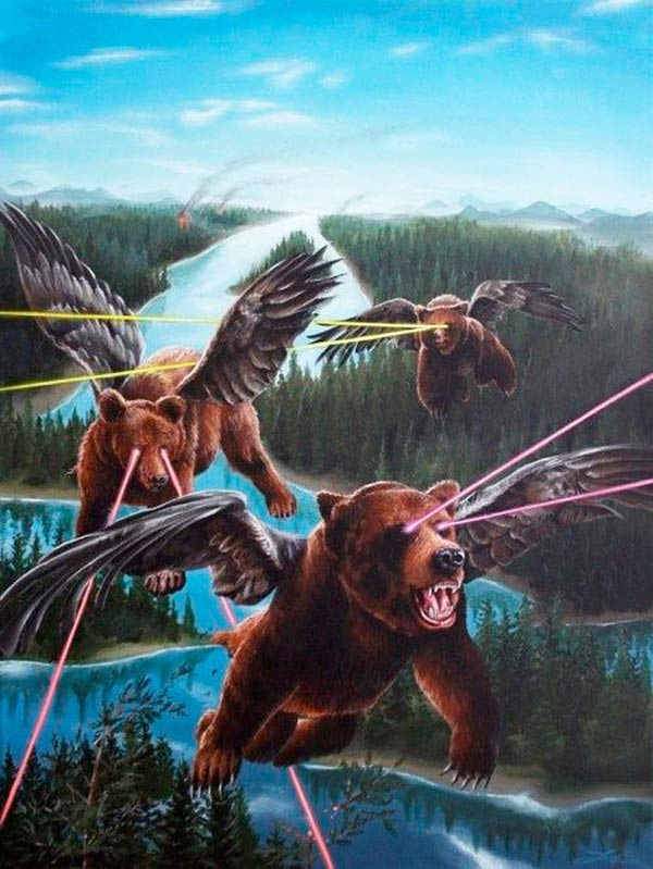 Funny pics~ cool illustration of flying grizzly bears with laser eyes