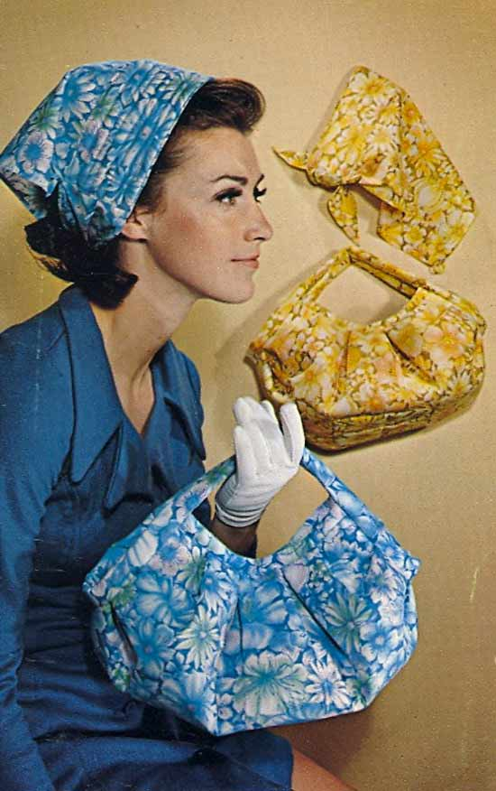 Funny pics~ vintage postcard of man modeling purse with matching head scarf, 1950s