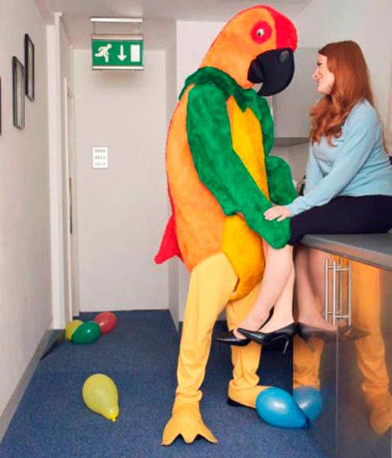 awkward family woman man parrot suit