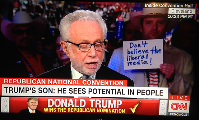Funny Pics~ News report CNN Republican Convention photobomb. Tumps son sees potential in people, don't believe the liberal media