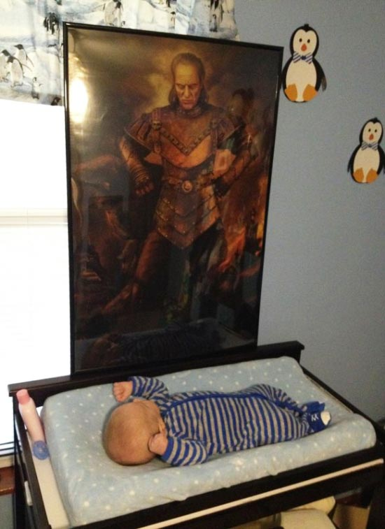 31 funny pics & Memes ~ Ghostbusters Viigo poster over baby's bed