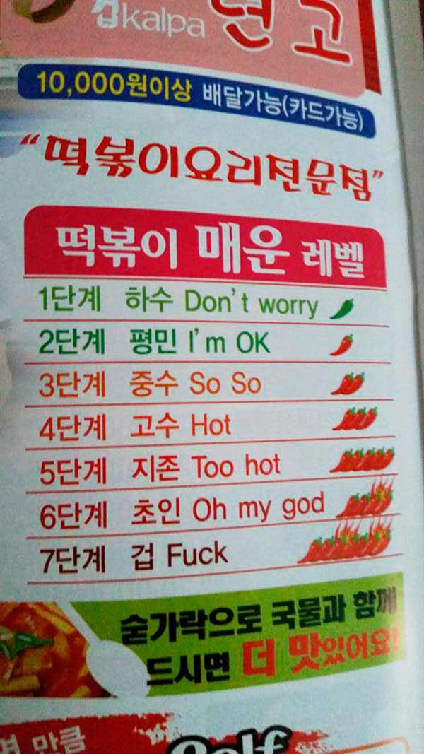 33 Funny Pics~ funny signs Japanese food spicy chart