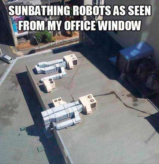 Funny Memes: sunbathing robots air conditioners
