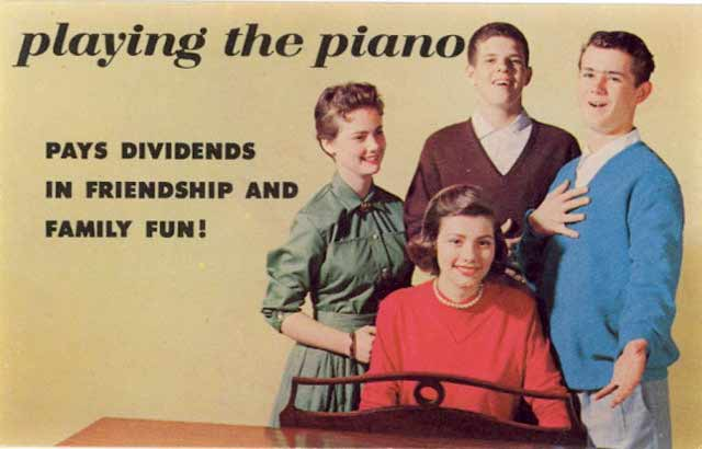 Vintage postcard ~ playing the piano pays dividends