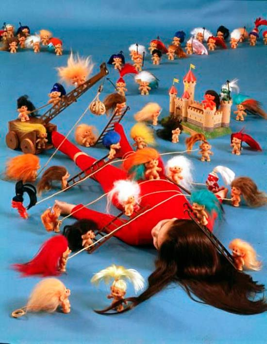 31 funny pics & Memes ~ vintage poster of girl tied down by Troll dolls, Gulliver's Travels parody