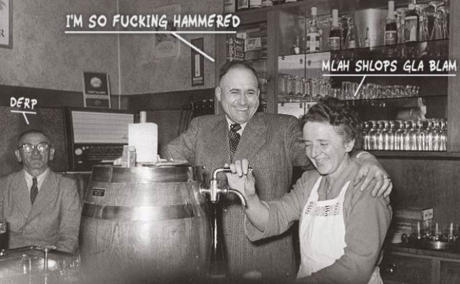 33 Funny Pics of the Day ~ vintage bar pub picture hammered