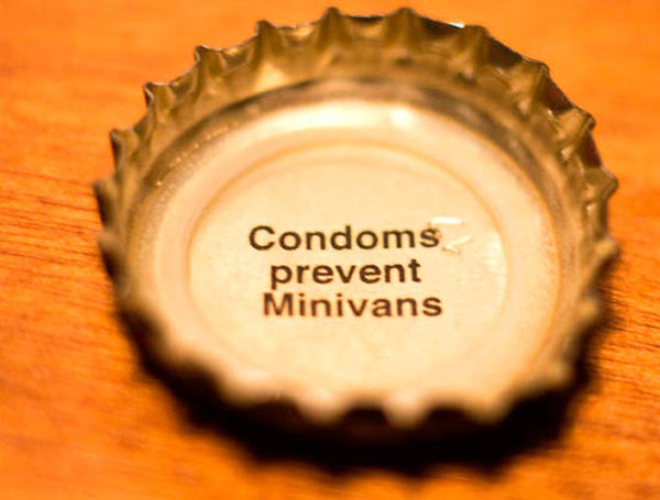 35 Funny Pics ~ bottle cap quote condoms prevent minivans