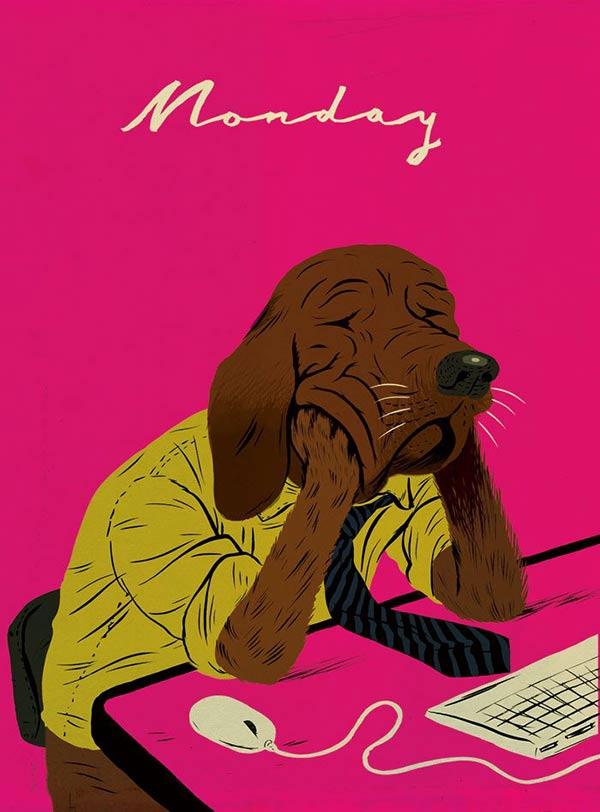 Monday: sad dog at work illustration