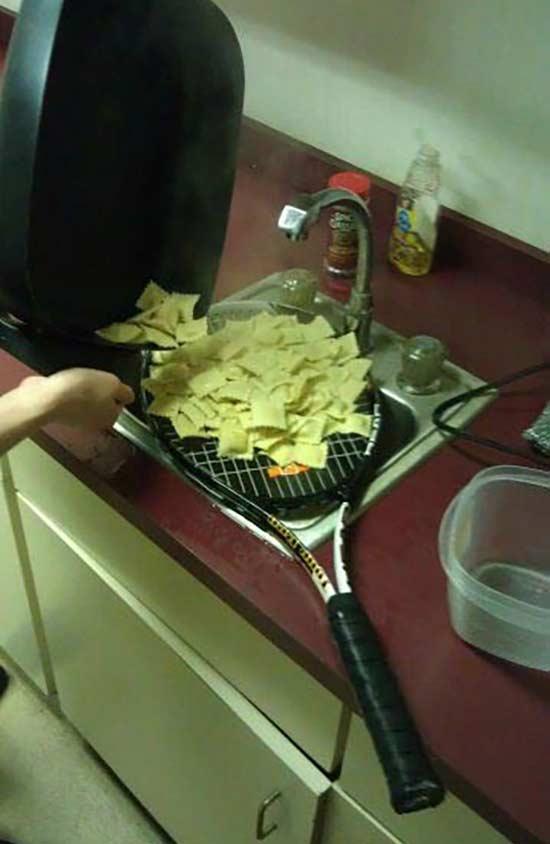 redneck engineering, tennis racket pasta strainer