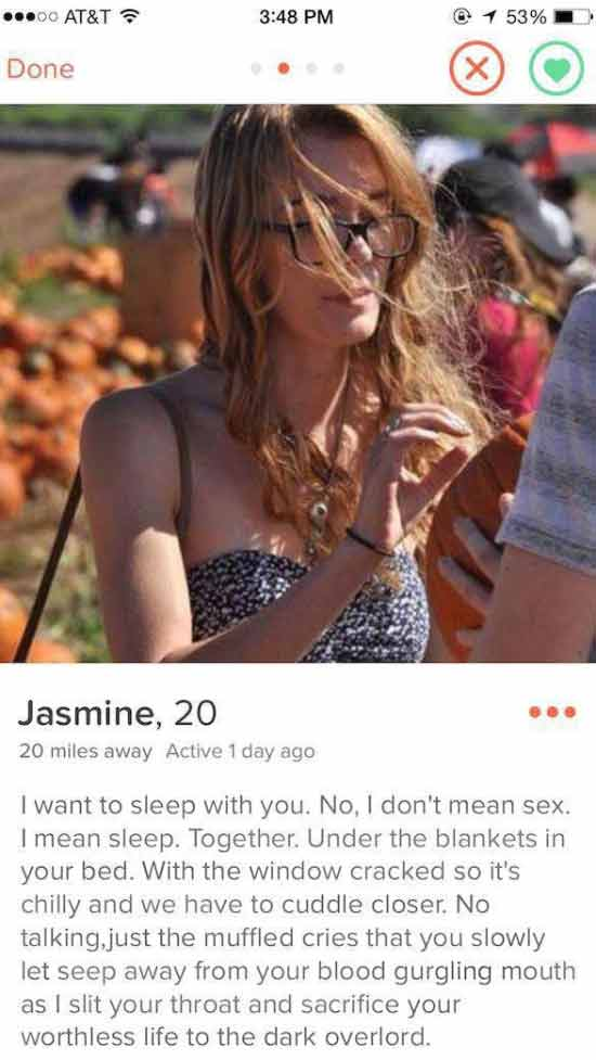 Funny Pics ~ 37 Outrageous Images ~ scary creepy Tinder profile
